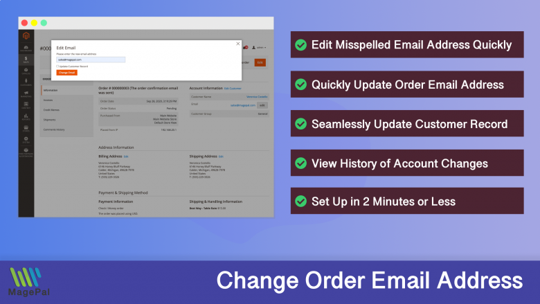 Edit Order Email Address for Magento 2